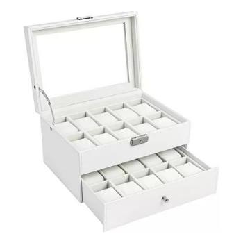 Caja de relojes blanca dos niveles para 20 relojes