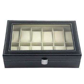 caja de relojes con tapa de cristal