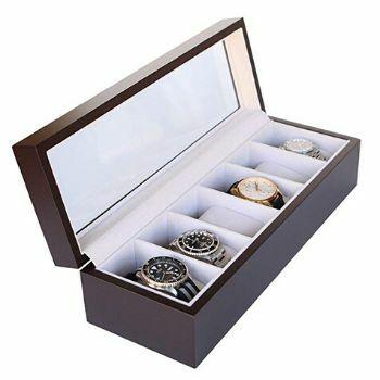 caja para relojes de madera pequeña y rectangular